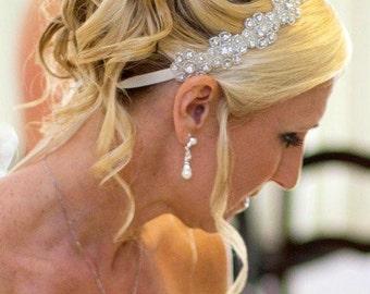 Lilly- Floral Rhinestone Headband,  Wedding Headpiece, Ribbon, Crystal, Accessories, Bridal, Wedding, Hair Accessory