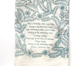 Hymn Tea Towel Leaning on the Everlasting Arms | Christian wall art gift for her teacher gift idea mothers day art print kitchen towels