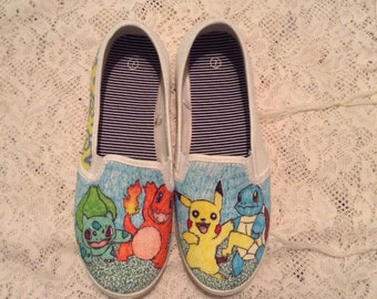 Handmade Custom Pokemon Characters Canvas Slips On Shoes (feat. Pikachu, Squirtle, Bulbasaur, and Charmander)