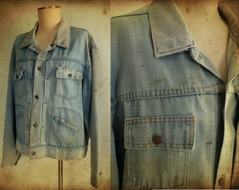 Vintage 1970s Penneys Distressed Pleated Denim Jean Jacket, L/XL