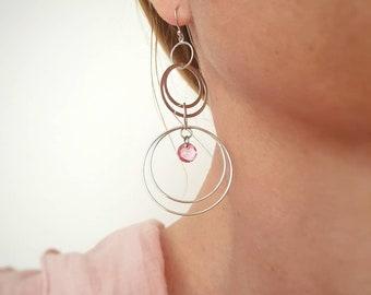 Long Dangle Earrings, Silver Round Earrings, Hoop Earrings, Geometric Earrings, Statement Jewelry, Bold Earrings, Everyday Crystal Earrings