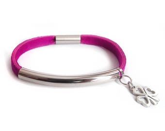 Leather bracelet fuchsia with tube & clover