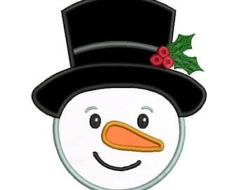 Applique Frosty Snowman Snow Man Christmas Machine Embroidery Designs 4x4 & 5x7 Instant Download Sale