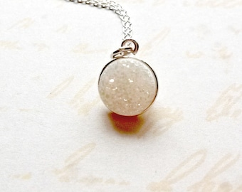 Druzy Necklace, Sterling Silver Druzy Pendant, Gifts for Her, Gifts under 25, Gemstone Necklace, Gemstone Jewellery