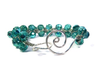 Sparkling Sea - Green Bracelet - Wire Wrapped Czech Glass Bead Bangle with Hammered Swirl Clasp - Seafoam/Silver - Mishimon Designs