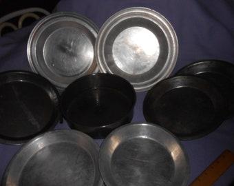 7 Old Metal Pie Baking Pans & Free Spring Pan as is