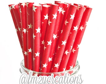 Red Paper Straws (25) RED Star Paper Straws, Red Straws:Cake Pops, Diy Flag, RED Weddings, Carnival Party,Circus Party