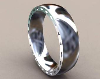 Silver 6mm Mens Wedding Band with Side Diamond Design Classic