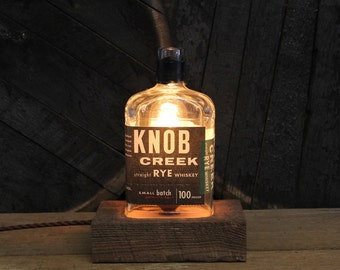 Knob Creek Rye Bourbon Bottle Lamp - Features Reclaimed Wood Base, Edison Bulb, Twisted Cloth Wire, In line Switch, And Plug, Handmade Light