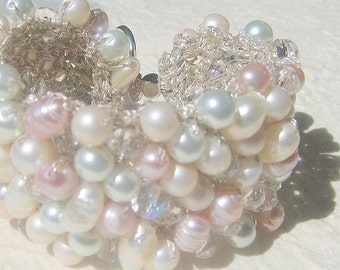 Romantic Bride Freshwater Pink Rose, White, Ivory, Pearl Crystal Hand Knit Bridal Statement Bracelet Cuff, Original, Sereba Designs