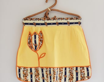 Retro Half Apron - Yellow and Florals - Sweet Tulip Shaped Front pocket - 60's - 70's  Era