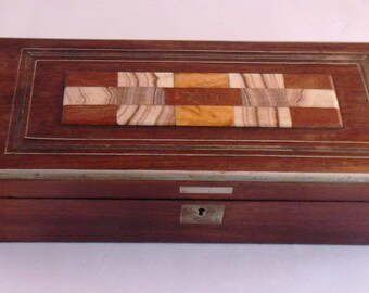 Beautiful 19th Century Karlsbad Rosewood and Agate Specimen Box. c.1880