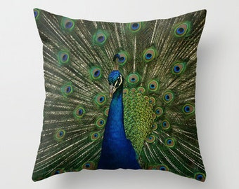 Throw Pillow Cover Peacock Emerald Green Cobalt Blue Feathers Photo Case Livingroom Couch Sofa Bed Vibrant Home Bedroom Decor