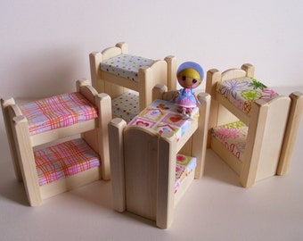 Wooden Toy Doll Small Bunk Beds, Handmade Wood Dollhouse Furniture, Peg Doll Beds, Kids Birthday gift, Waldorf inspired Jacobs Wooden Toys