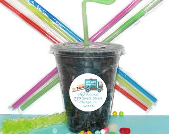 Moving Day Cups, Moving Party Cups, Kids Party Cups, 20 Cups, Moving Party Cups, Straws and Lids, 12 Ounce Cups