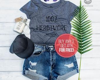 Vegan Shirt, Funny Vegan Shirt, Herbivore Shirt, 100% Herbivore, Vegan T-shirt, Animal rights shirt, Herbivore T-shirt