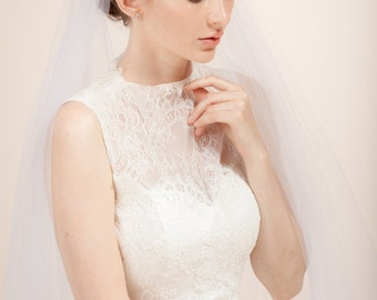 Wedding veil, bridal Juliet veil, Juliet cap veil, French cap veil with embroidered lace, silk tulle veil -- Style 349