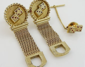 Casino Dice Vintage Swank Wrap Cufflinks Set with Tack