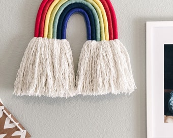 Rainbow Woven Wall Hanging, Macrame Wall Hanging, Coiled Rope Multi color Kids room natural decor, Waldorf inspired