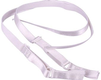 SALE White Bra Straps with Butterfly Imprints - 3/8 inch (FP10W)