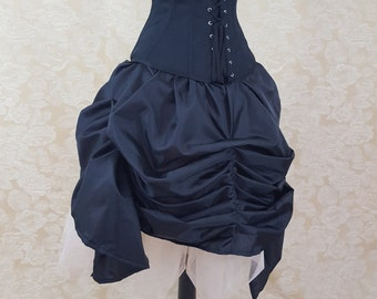 Black Mini Length Tie Bustle Skirt-One Size Fits All
