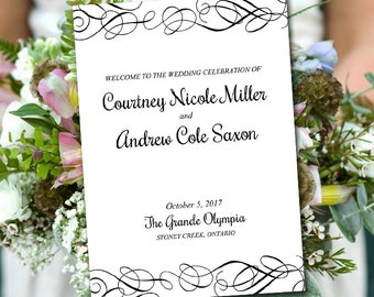 "Fold Over Wedding Program Template Download ""Whimsical Swirls"" Black Flourish Program Order of Service Half Fold Program Printable"