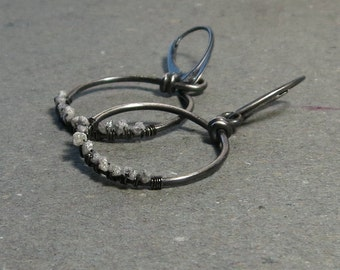 Diamond Earrings Sterling Silver Hoops Leverback April Birthstone Wire Wrapped Oxidized Earrings Gift for Wife