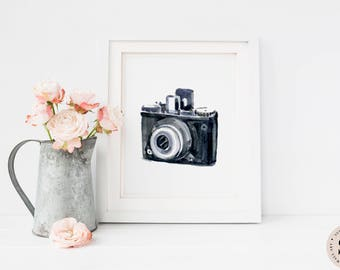 Vintage Camera Print — Camera Print Watercolor Wall Art Printable Wall Art Digital Wall Art Prints Photographer Decor Art INSTANT DOWNLOAD