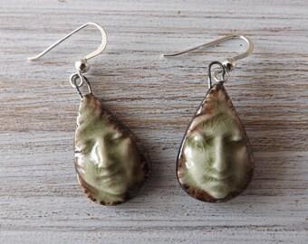 Face earrings, green earrings, ceramic earrings, girl earrings, face jewellery, girl jewellery, ceramic jewellery, boho earrings, festivals