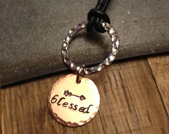 Hand Stamped Necklace - Blessed Necklace - Gift for Her - Leather Necklace - Hand Stamped Jewelry