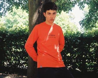 Orange Long Sleeved T-shirt With 90's Logo Design 1088
