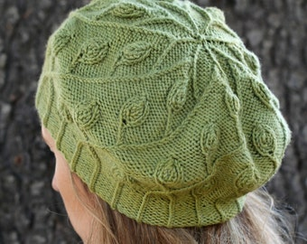 Pdf knitting pattern for cabled leafy hat