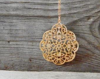 Boho long necklace, Gold long necklace, Pendant long necklace, Greek goddess necklace