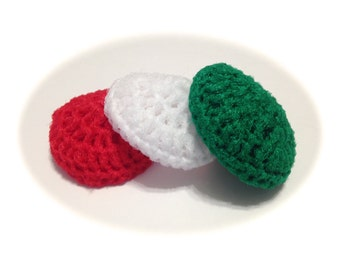 Christmas Crocheted Nylon Netting Dish Scrubbies-Red, White, And Emerald Green-Trio