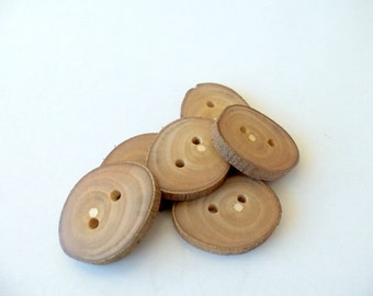 New - Wood Buttons-6  Handmade Rod  Tree Branch Buttons with the bark-1 1/5  inch diameter.For knitting,crochet,purses,wallet,