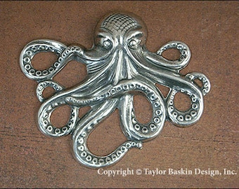Antiqued Sterling Silver Plated Octopus Component (item 8460 AS) - 1 piece