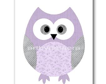 Kids wall art Owl Nursery Owl decor Baby Nursery Decor Baby Girl Nursery Kids Art Baby Room Decor Nursery Print Girl Print lavender gray