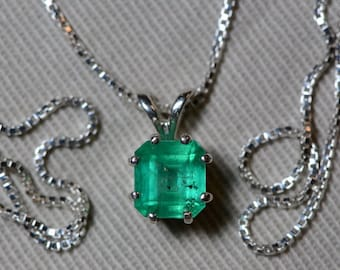 Emerald Necklace, Colombian Emerald Pendant 1.23 Carat Certified 1,100.00, Sterling Silver, Real Genuine Natural Jewellery, May Birthstone