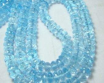 AAA Sky Blue topaz faceted beads Full Strand 17 Inch