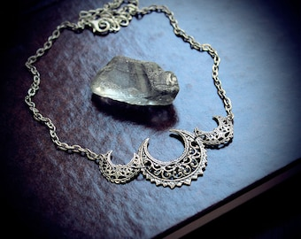 The Witch's Collar, triple moon goddess choker, pagan jewelry, wiccan necklace, occult, goddess, pagan moon, wicca, crescent moon necklace