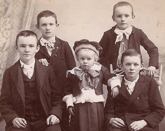 Cabinet Card - 5 Lovely Lads from Shenandoah, PA - Photographer W.A. KEAGEY - Wonderful Studio Portrait of Five Boys - Excellent, Victorian