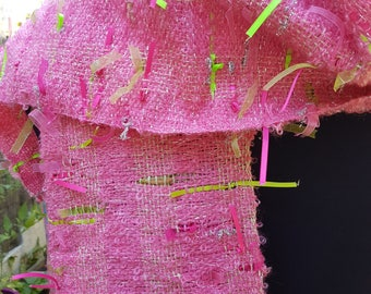 Pink scarf in mohair and satin ribbons