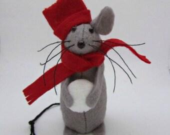 Christmas Mouse - Snowballing Mouse - Felt Mouse - Felt Mice - Mouse Christmas Decoration