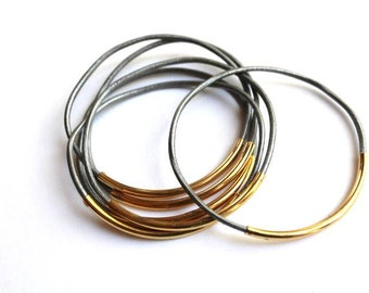 Silver Leather Bangle Set, Leather Bracelets for Women, Gold Tube, Leather Jewelry, Bohemian Jewelry, Boho Jewelry, Genuine Leather, Bangle