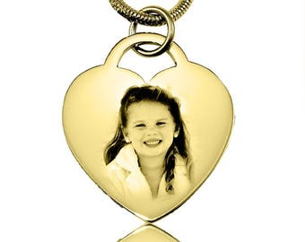 Photo on Jewelry, Photo on Jewellery, Gifts for Mum, Gold Heart Photo Necklace, Personalized Forever in My Heart Photo Necklace ONL 89
