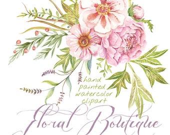 Peony Сlipart Watercolor. Peonies Hand Drawn Flower clipart, wedding,  digital flowers, DIY invites, scrapbooking, wedding invitations