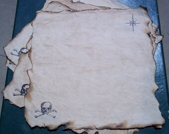 Treasure Map, Fill in the Map Yourself, Blank Treasure Map, Aged Paper, Skull and Cross Bones, Burnt Edges, Authentic, Fun for Kids