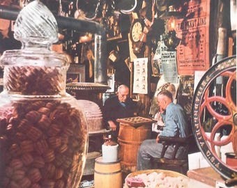 Weston VT 1955 Vrest Orton's Country Store Holiday Mag Men Playing Checkers Vintage Antique Posters Classic New England 13x10 Ready Frame