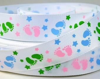 """7/8"""" Baby Footprints - In Pastel Colors - Printed Grosgrain Ribbon"""