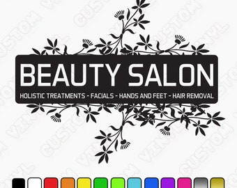 Custom Beauty Salon Decal, Beauty Salon Window/Wall Sign, shop wall stickers/decals hair and beauty decals